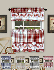 Plaid Rooster Kitchen Curtain Tier & Valance Set - Assorted Colors & Sizes