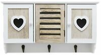 Shabby Chic White Natural Wooden Heart Wall Unit Storage Organiser With Hooks