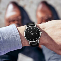 g/s Herrenmode Analoguhr Slim Bussiness Quarzuhr Datum Armbanduhr PU Leder