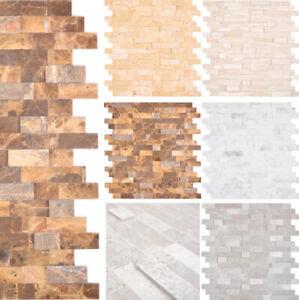 Selbstklebend Mosaikplatten Natursteinmosaik Wandpaneele Grau Weiß Beige Braun