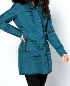 New Womens Studio Padded Midi Faux Fur Trim Teal Coat Parka Jacket Sz UK 14 (L6)