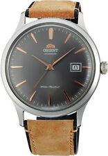 Orient FAC08003A Men's Bambino Version 4 Leather Band Grey Dial Automatic Watch