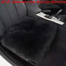 "Genuine Sheepskin Long Wool Car Seat Breathable Warm Soft Cover 18x18"" BLACK 1PC"