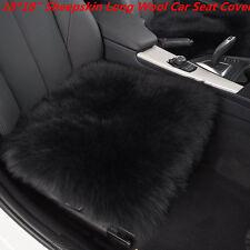 "Genuine Sheepskin Long Wool Car Seat Breathable Warm Soft Cover 18x18"" BLACK 1PC"