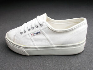 SUPERGA ACOTW LINEA UP CANVAS RUBBER SNEAKER 40 WEISS PLATEAU SUPER ZUSTAND