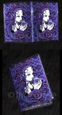 Purple Victorian Angel Bubble Flower ID Business Card Holder Amethyst Myka