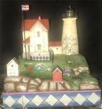 """Jim Shore Lighted Lighthouse Nubble Light """"Protection From The Savage Rock"""" Nib"""