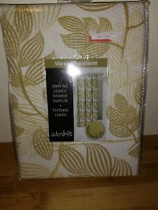 "Colordrift Polyester White and gold ""swaying leaves"" fabric Shower Curtain (NEW)"