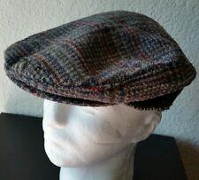 Large Pendleton Blue Plaid 100% Virgin Wool Cabbie Newsboy Flat Cap Hat Stressed
