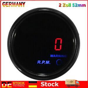 52mm Drehzahlmesser Anzeige Zusatz Instrument Tachometer 0-9000RPM Dieselmotor