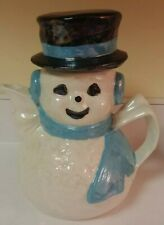 "Vintage Handpainted Glazed Ceramic Lusterware Snowman Teapot 9"" Holiday Decor"