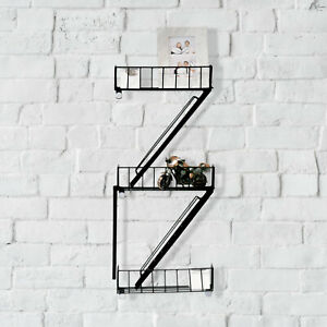 NYC Style Fire Escape Black Wall Shelf Retro Shelving Unit Ladder Floating Decr