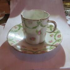 1 tasse et sous tasse avec fleurs roses et guirlandes vertes « Limoges France »