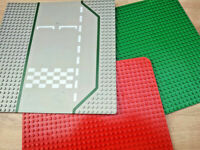 Vintage 3 Mixed Large Lego Base Boards Plate 32x32 Green Grey Road Red 32x24