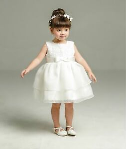 Newborn Baby Girl Off White Christening/Birthday/Prom Tutu Party Princess Dress
