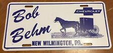 BOB BEHM CHEVROLET VEHICLE LICENSE PLATE WHITE BLUE CHEVY PENNSYLVANIA NEW
