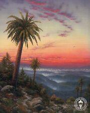 Desert Sunset - Palm Trees, Red Orange Sky Light -Thomas Kinkade Dealer Postcard