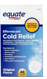 EQUATE EFFERVESCENT COLD RELIEF TABLETS, 325 MG, 48 COUNT PAIN FEVER REDUCTION+