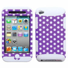 For iPod Touch 4 4th Gen Rubber IMPACT TUFF HYBRID Case Skin Cover Purple Dots