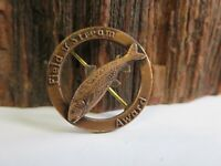 Vintage Field & Stream Salmon or Trout Fishing Award Pin / Pinback 27 lbs RP4