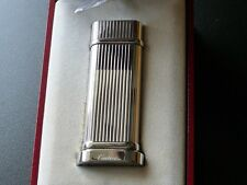 Cartier Godrons Palladium Plated Table Lighter with Cigar Burner Boxed + Papers
