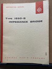 General Radio Instruction Manual Gr 1650 B Impedance Bridge Service User