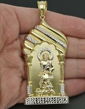 "Real 10k Yellow Gold 3D Big Huge Saint Lazarus Jesus  Pendant 3.15"" 10.1gr"