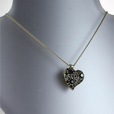 PILGRIM Danish Necklace Swarovski Pave LOVE Valentine Heart Black/Gold BNWT