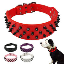 "2"" Wide Black/Red Spikes Studded PU Leather Dog Collars Pit Bull Boxer M L XL"