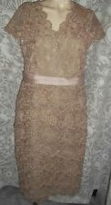 Jacques Verts Beige UK 12 Layered  Lace Dress BNWT RRP £200.00