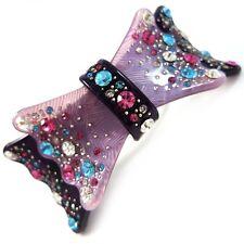 *USA* HAIR CLIP Acrylic Austria Crystal PIN Claw swirl bow-knot rosette PURPLE