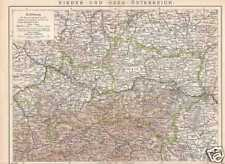 Austria SUPERIORE bassa Austria vecchia cartina per 1904 Innviertel vino quarti