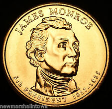 2008 P James Monroe Presidential Dollar ~ Pos A ~ From U.S. Mint Roll