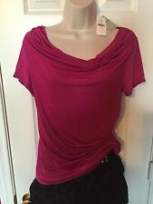 NWT CARMEN MARC VALVO Pink Short Sleeve Solid Size Medium M blouse