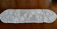 Antique 1950's Handmade Filet Lace Doily tablecloth Centrepiece Runner 90cm