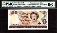 New Zealand $1 REPLACEMENT // STAR 1981-85 Prefix AA P-169a* GEM UNC PMG 66 EPQ