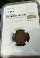 1869 - Indian Head Cent Penny - VG8 BN - NGC - Graded