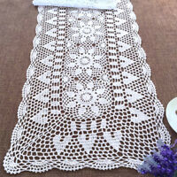 White Vintage Crochet Table Runner Dresser Scarf Lace Doily 15x78inch Wedding