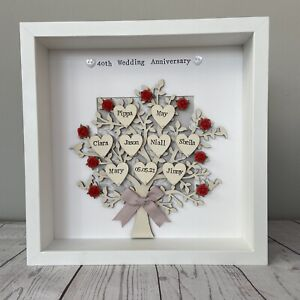 Personalised Family Tree 40th Ruby Wedding Anniversary Framed Gift