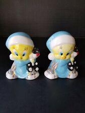 Ceramic Bedtime TWEETY BIRD Sylvester Bugs Bunny Slippers Salt & Pepper shakers