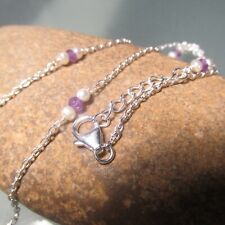 925 sterling silver lightweight pearls & amethyst beads 18-19 inch necklace.