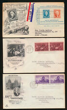 Three mailing envelope of the USA, 1947, First Day of Issue