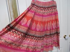 Ladies Miller's Cotton floral pink, orange, white & marone skirt size 10