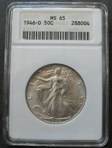 1946-D ANACS MS 65 Silver Walking Liberty Half Dollar