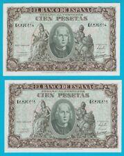 "PAREJA DE 100 Pesetas 1940 ""Cristóbal Colón"". SERIE G 6820614-615. BONITOS SC-."