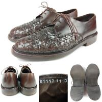 Mens 11 D Bragano Cole Haan Italy Brown Leather Woven Lace Up Dress Shoes