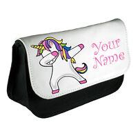 Personalised Girls Unicorn Dabbing Pencil Case Make Up Bag School Kids Custom