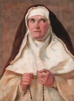NUN HOLDING ROSARY BEADS PORTRAIT Victorian Watercolour Painting c1900