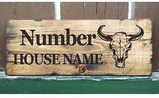 Casa Rústico Personalizado Bull figura cráneo signo Bison Puerta Placa/Placa