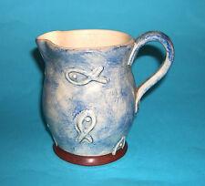 Studio Pottery - Attractive Raised Fish Design - Blue Wash Jug - Potters Mark.